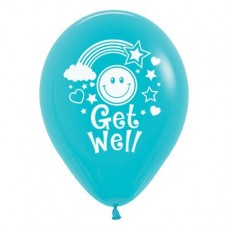 Get Well Caribbean Blue Smiley Faces Latex Balloons