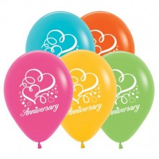 Anniversary Tropical Multi Coloured Hearts Latex Balloons