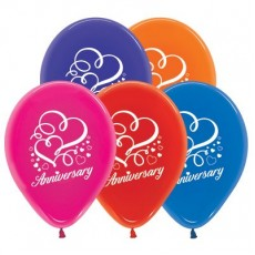 Anniversary Jewel Multi Coloured Hearts Latex Balloons