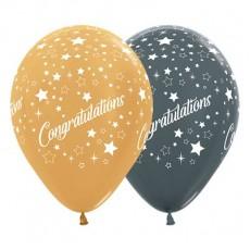 Congratulations Metallic Gold & Graphite Stars Latex Balloons