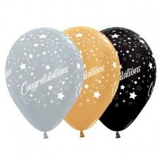 Teardrop Metallic Gold, Silver & Black Congratulations Stars Latex Balloons 30cm Pack of 25
