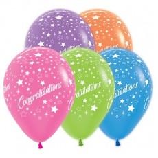 Congratulations Neon Multi Coloured Stars Latex Balloons
