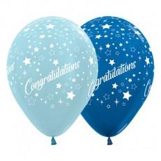 Teardrop Satin Pearl & Metallic Blue Congratulations Stars Latex Balloons 30cm Pack of 25