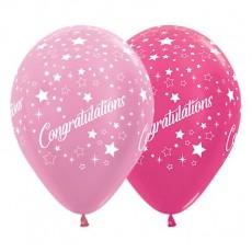 Congratulations Satin Pearl Pink & Metallic Fuchsia Stars Latex Balloons