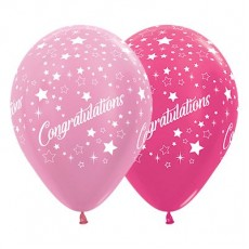 Teardrop Satin Pearl Pink & Metallic Fuchsia Congratulations Stars Latex Balloons 30cm Pack of 25