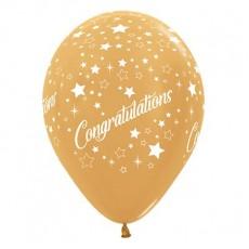 Teardrop Metallic Gold Congratulations Stars Latex Balloons 30cm Pack of 6
