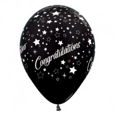Teardrop Metallic Black Congratulations Stars Latex Balloons 30cm Pack of 6