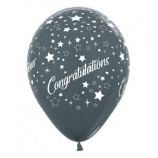 Congratulations Metallic Graphite Stars Latex Balloons