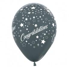 Teardrop Metallic Graphite Congratulations Stars Latex Balloons 30cm Pack of 6