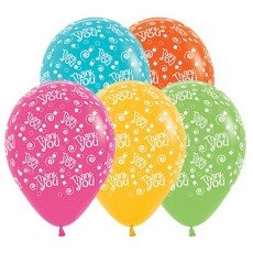 Thank You Tropical Multi Coloured Swirls & Dots Latex Balloons