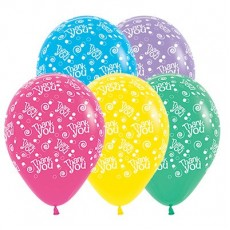 Thank You Fashion Multi Coloured Swirls & Dots Latex Balloons