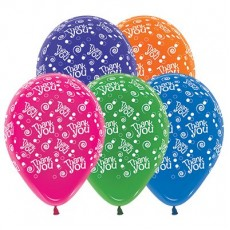Thank You Jewel Multi Coloured Swirls & Dots Latex Balloons