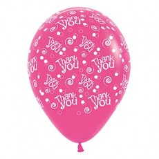 Thank You Fuchsia Swirls & Dots Latex Balloons