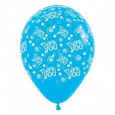 Thank You Fashion Blue Swirls & Dots Latex Balloons