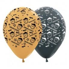 Graduation Gold & Metallic Graphite Smiley Faces Latex Balloons