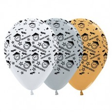 Graduation Satin White, Silver & Metallic Gold Smiley Faces Latex Balloons
