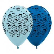Teardrop Pearl Blue & Metallic Blue Graduation Smiley Faces Latex Balloons 30cm Pack of 25