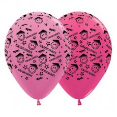 Graduation Satin Pearl & Metallic Fuchsia Smiley Faces Latex Balloons