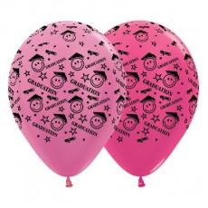 Teardrop Satin Pearl & Metallic Fuchsia Graduation Smiley Faces Latex Balloons 30cm Pack of 25