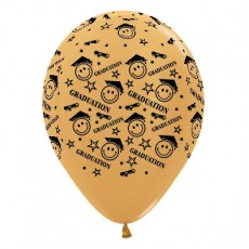 Graduation Metallic Gold Smiley Faces Latex Balloons