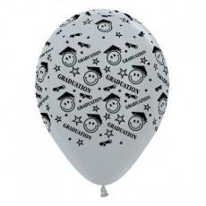 Graduation Metallic Silver Smiley Faces Latex Balloons