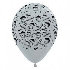 Teardrop Satin Pearl Silver Graduation Smiley Faces Latex Balloons 30cm Pack of 6