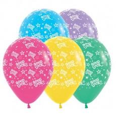 Good Luck Multi Coloured Stars Latex Balloons