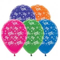 Good Luck Jewel Multi Coloured Stars Latex Balloons