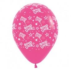 Good Luck Fuchsia Stars Latex Balloons
