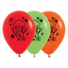 Halloween Fashion Multi Coloured Zombie Horror Latex Balloons