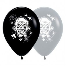 Halloween Fashion Black & Grey Zombie Horror Latex Balloons