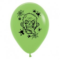 Halloween Lime Green Zombie Horror Latex Balloons