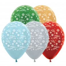 Christmas Party Decorations - Latex Balloons Snowflakes Pearl Assort 25pk