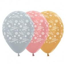 Christmas Party Decorations - Latex Balloons Snowflakes Metal 25pk