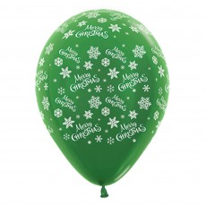 Christmas Metallic Forest Green Snowflakes Latex Balloons