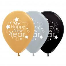 Teardrop Metallic Silver, Gold & Black Happy New Year Latex Balloons 30cm Pack of 25