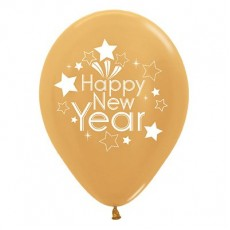 Teardrop Metallic Gold Happy New Year Latex Balloons 30cm Pack of 6