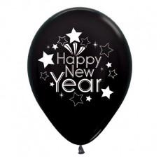 Teardrop Metallic Black Happy New Year Latex Balloons 30cm Pack of 6