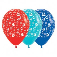 Multi Colour Fashion Red, Caribbean Blue & Royal Blue with Nautical Design Latex Balloons