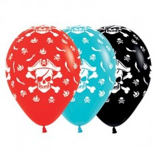 Pirate's Treasure Red, Caribbean Blue & Black Pirate Theme Latex Balloons