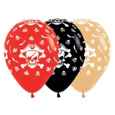 Pirate's Treasure Red, Black & Toffee Pirate Theme Latex Balloons