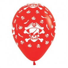Teardrop Fashion Red Pirate's Treasure Latex Balloons 30cm Pack of 6