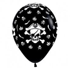 Teardrop Fashion Black Pirate's Treasure Latex Balloons 30cm Pack of 25