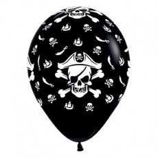 Teardrop Fashion Black Pirate's Treasure Latex Balloons 30cm Pack of 6
