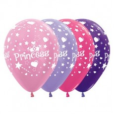 Princess Satin Pearl Metallic Multi Coloured  Latex Balloons