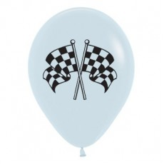 Racing Car & Flags White Racing Flags Latex Balloons