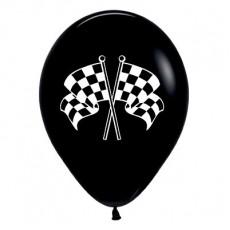Check Black Racing Flags Latex Balloons