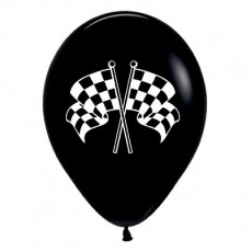 Racing Car & Flags Black Racing Flags Latex Balloons