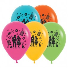 Rock n Roll Tropical Multi Coloured Theme Latex Balloons