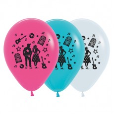 Rock n Roll White, Fuchsia & Caribbean Blue  Latex Balloons